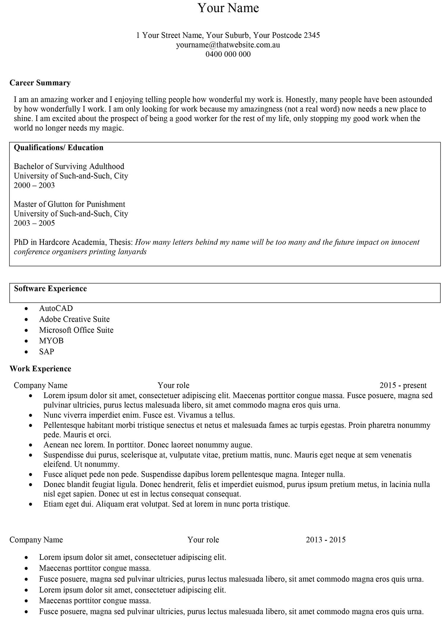 1. Your Name Resume Word Template Screenshot