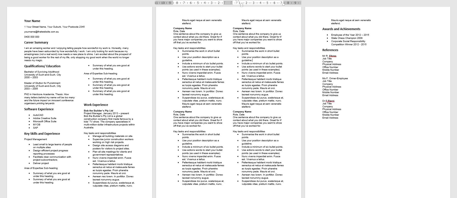 3. Add two columns to resume in Word