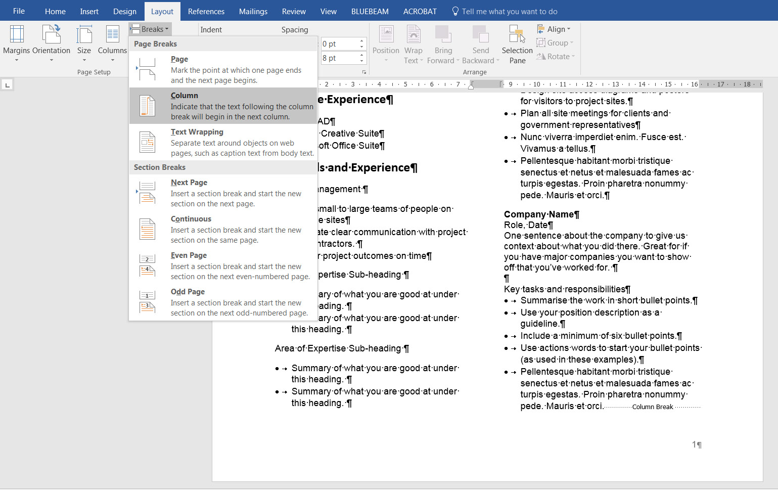 7. Section Breaks Page Breaks and Column Breaks in Microsoft Word