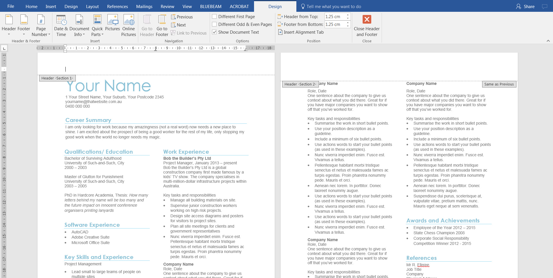 add header cv resume microsoft word