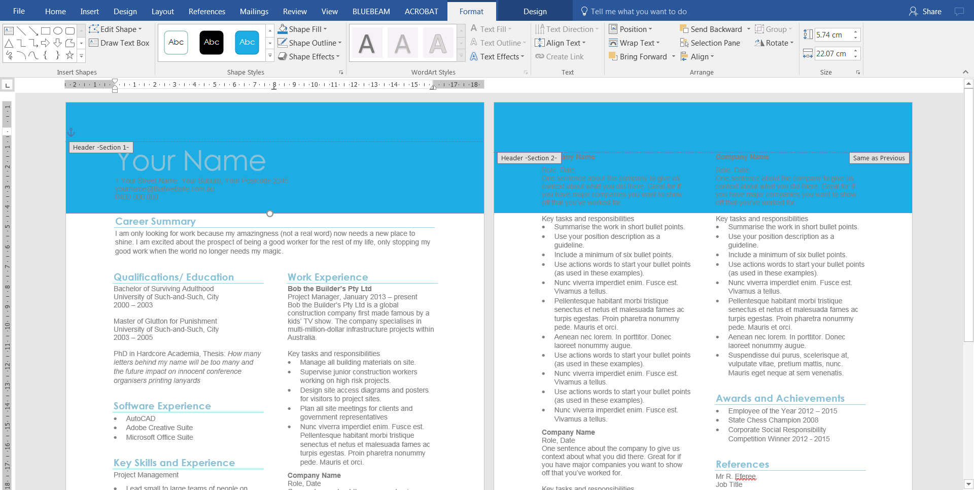 2. Add graphics to header in Word document