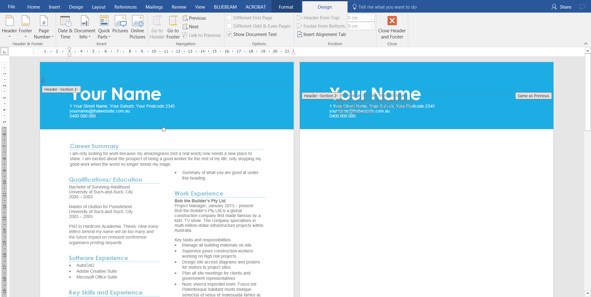 3. Add text to header of resume CV