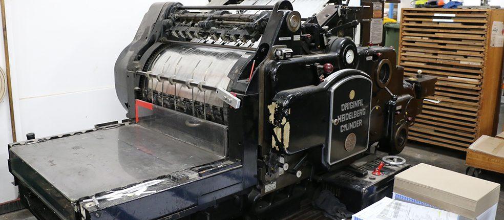 Old school print machinery Minuteman Press Abbotsford Taku Podcast
